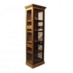 Vitrine vintage industrielle métal & Vieux Bois - 61x37x208 cm
