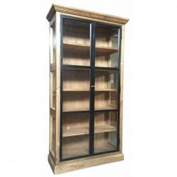 Vitrine vintage industrielle métal & Vieux Bois - 106x42x208 cm