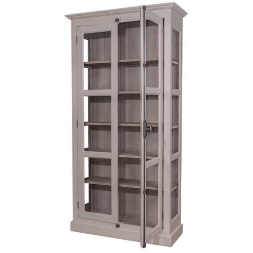 Bibliothèque Vitrine 2 Portes et 5 tablettes ROMANE | 110x40x210 cm