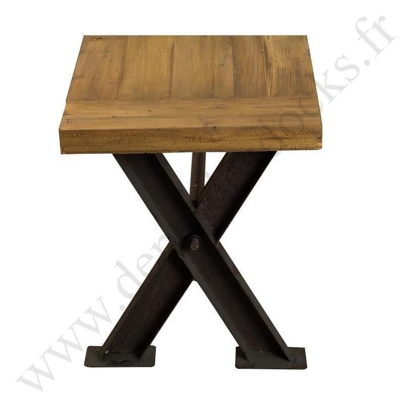 banc vintage industriel m tal vieux bois 2m50 demeure et jardin. Black Bedroom Furniture Sets. Home Design Ideas