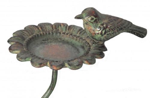 Mangeoire à oiseaux tournesol en fer forgé vert de gris
