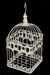 Cage Décorative en fer forgé patinée blanc vieillie