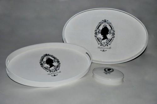 Set de 2 plateaux Ovales Silhouette Mademoiselle