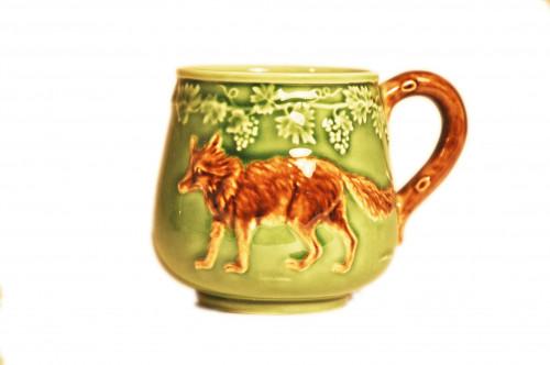 Mug Loup en Barbotine vert