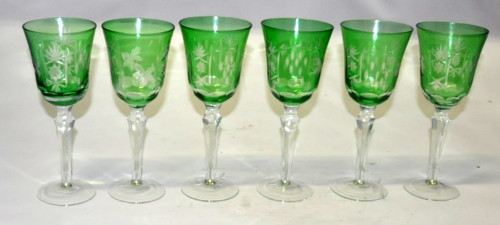 Set de 6 grands verres à pied verts