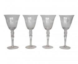 Ensemble de 4 verres à vin gravés