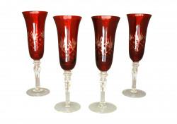 Set de 4 Flûtes à champagne rouge