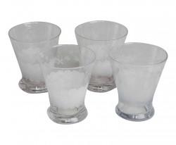 Ensemble de 4 verres à eau gravés