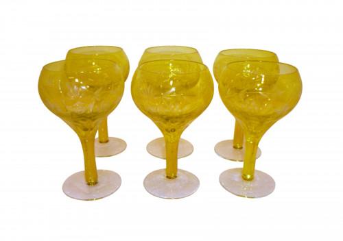 6 verres style boheme jaunes