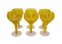 Set de 6 verres à pied jaunes