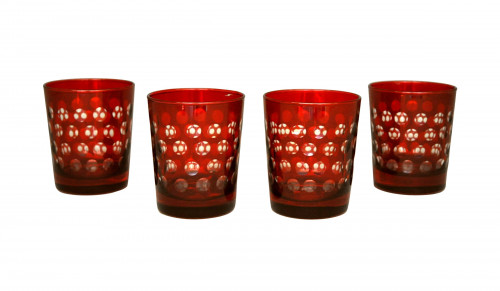 Ensemble de 4 verres à whisky rouges