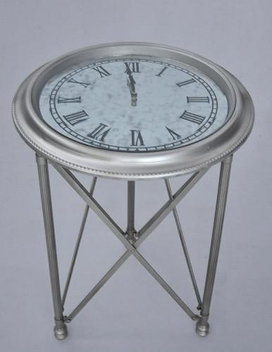 Guéridon metal argenté & horloge fonctionnelle