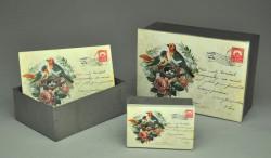 Boîte tole carte postale rétro