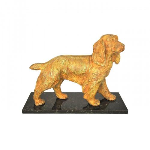 chien epagneul bronze sur socle marbre demeure et jardin. Black Bedroom Furniture Sets. Home Design Ideas