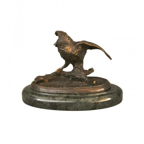 Oiseau en bronze sur base marbre vert