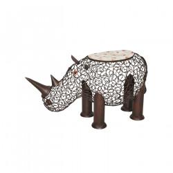 Tabouret Rhinocéros en fer forgé et mosaïque