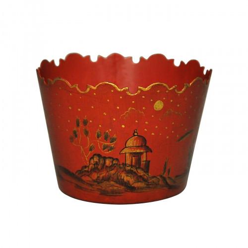 Jardinière rouge temple Chinois en tôle peinte taille moyenne