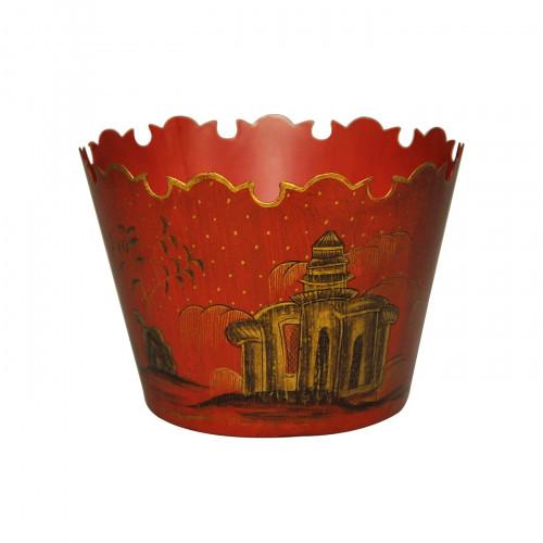 Jardinière rouge en tôle peinte style Napoléon III petit modèle