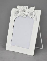 Cadre Blanc Vertical à Fleurs