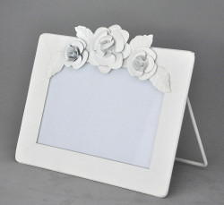 Cadre Blanc Horizontal à Fleurs