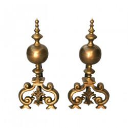 Paire de chenets en bronze style Régence