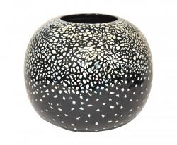 Vase design noir boule céramique laque noir