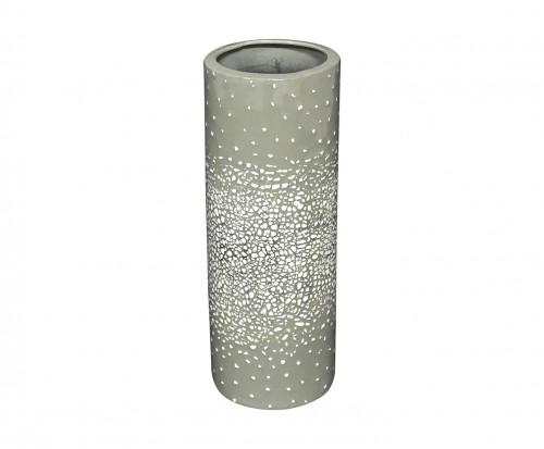 Vase rouleau céramique grise et coquille d'oeuf