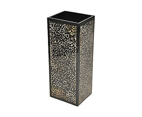 Vase design rectangulaire fauve laque marron et coquille d'oeuf