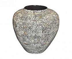 Grand Vase arrondi laque marron et coquille d'oeuf