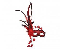 Masque loup vénitien plumes et fleurs rouges
