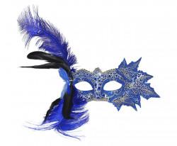 Masque Loup vénitien feuilles et plumes bleues