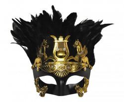 Masque Vénetien Centurion Romain noir et or