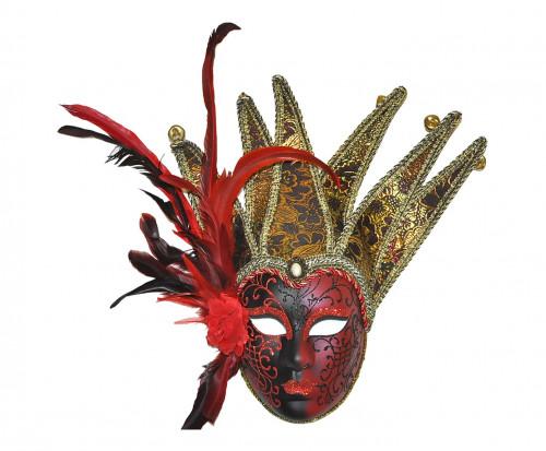 Masque damas rouge avec plumes et grelots demeure et jardin - Masque venitien decoration ...