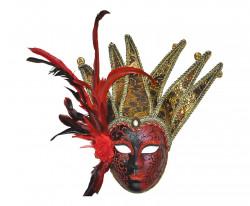 Masque damas rouge avec plumes et grelots
