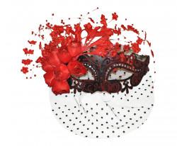 Masque loup vénitien rouge à voilette et fleurs