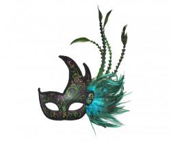 Masque 1/2 lune vert à plumes