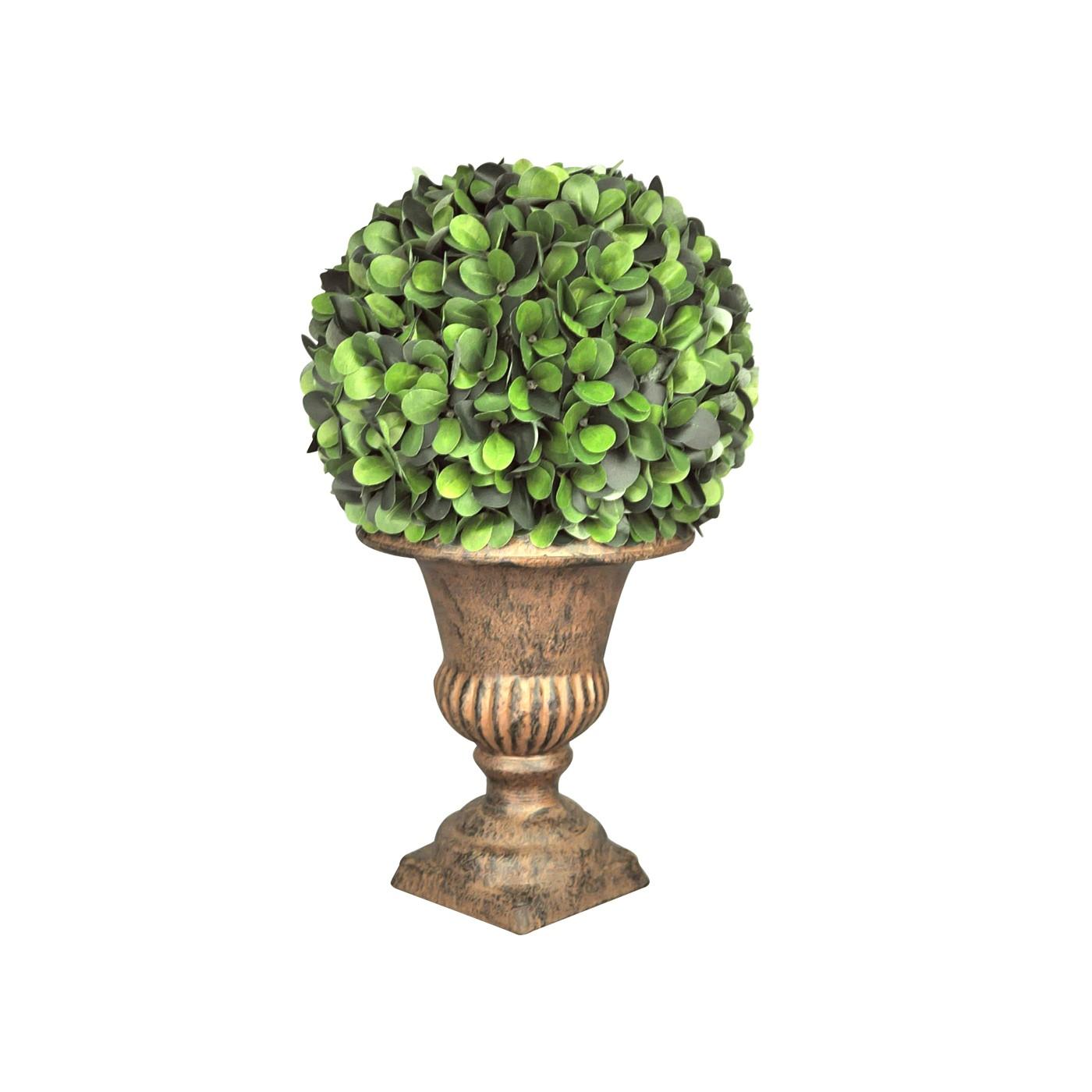 Buis rond sur urne patine brune demeure et jardin for Plante decorative jardin