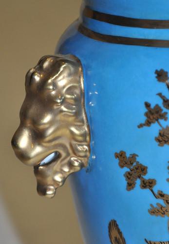 Paire d'urnes bleu et or style Empire