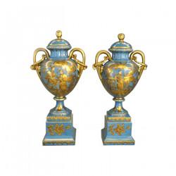 Paire de cassolettes bleues Style Louis XV