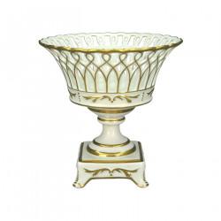 Coupe en porcelaine socle ajourée blanche et or