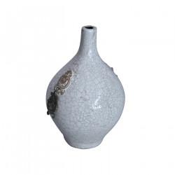 Vase terre cuite vernissée et craquelée blanc