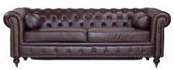 Canapé chesterfield bed en cuir marron