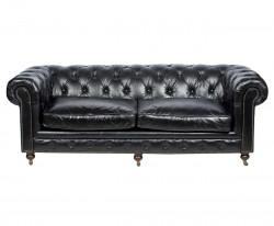 Canapé Chesterfiled en cuir vintage noir