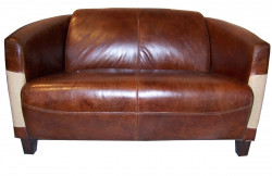 Canapé «L'élégant» en cuir et empiècement en toile de jute