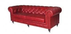 Canapé Chesterfield en cuir vintage rouge