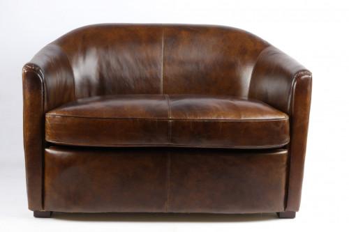 «Le British» canapé en cuir vintage cigare