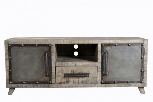Meuble TV vintage industriel metal & bois 2 portes & 1 tiroir