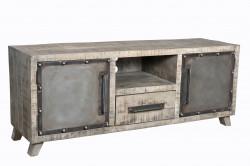 Meuble TV 153 cm de style industriel en metal & manguier massif