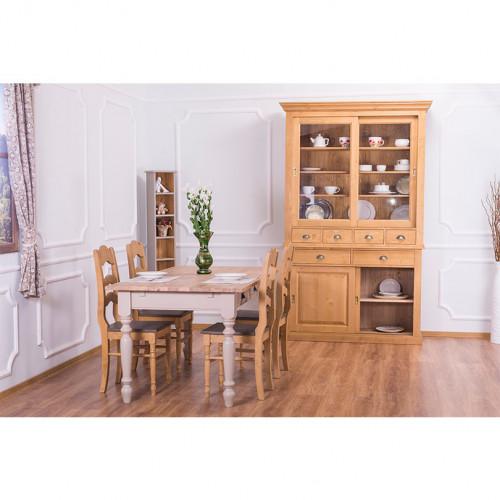 Buffet Vaisselier en bois massif ROMANE - 142x48x225 cm