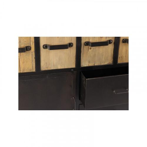 Buffet de style industriel en métal et vieux bois - 160x45x95 cm